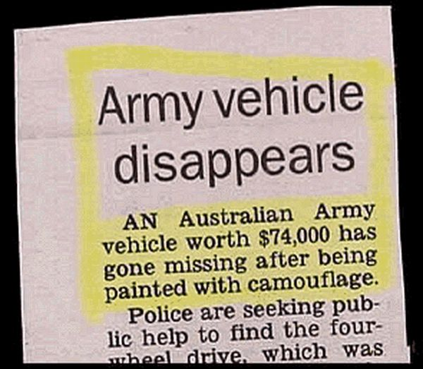 Army Vehicle Missing