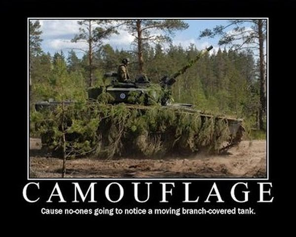Military humor funny joke soldier army camouflage branch covered tank