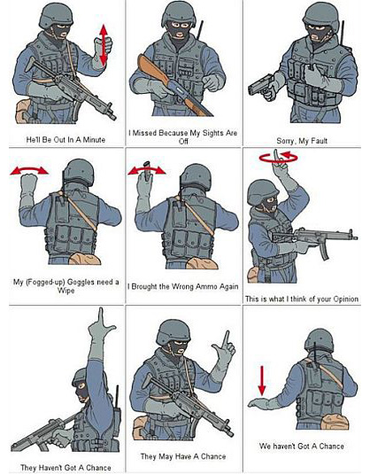 Military Humor Funny Joke Soldier Army Swat Hand Signals