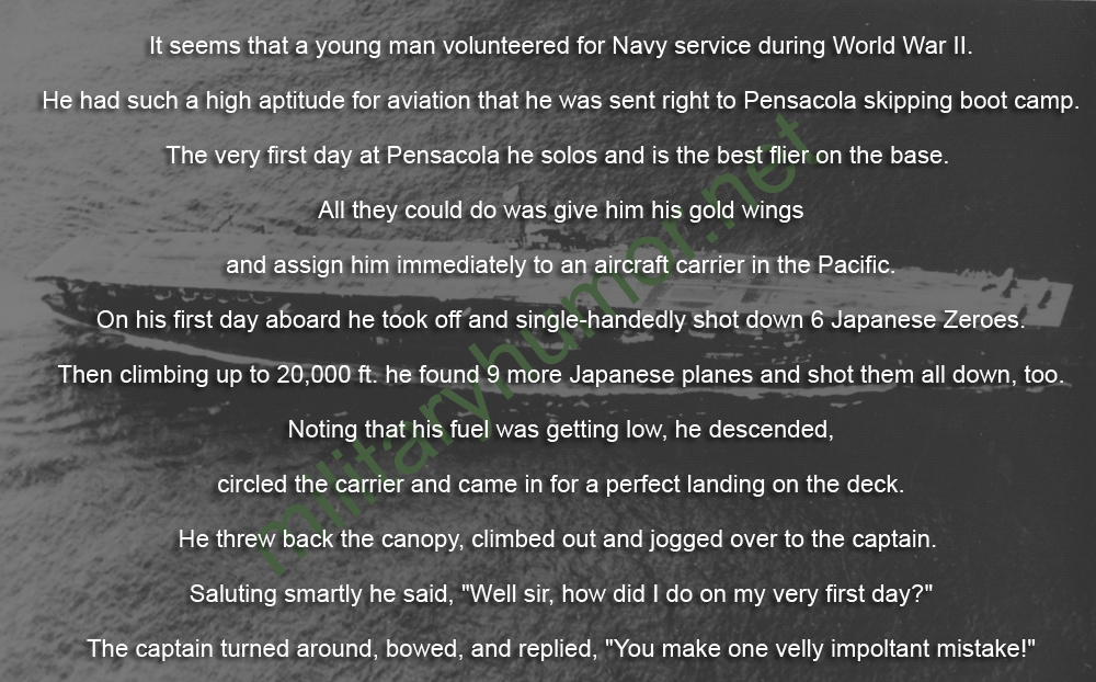 Almost Perfect First Day - Military humor