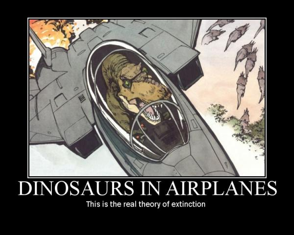 Dinosaurs In Airplanes - Military humor