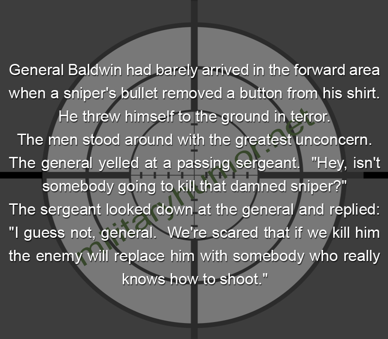 General Baldwin Had Barely Arrived In The Forward Area - Military humor