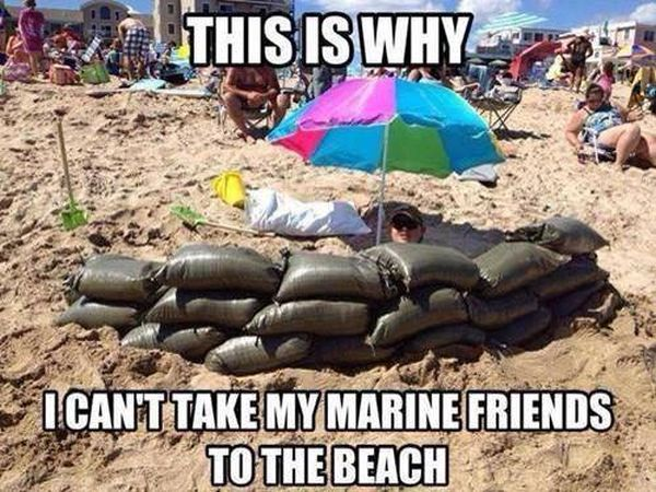 Marine At The Beach - Military humor