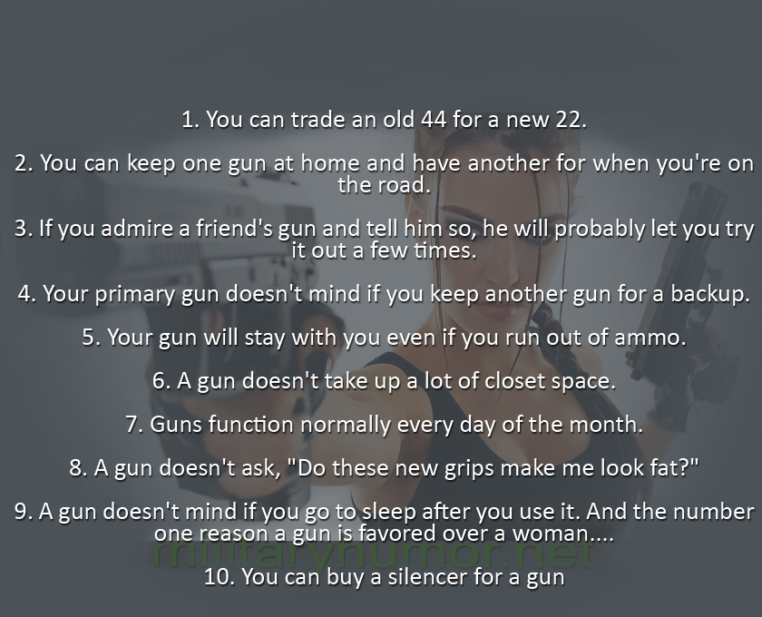 10 Reasons Why Men Prefer Guns to Women - Military humor