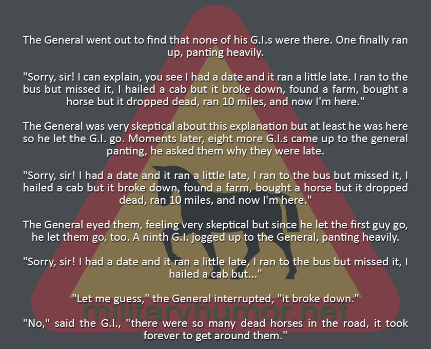 Giving Very Odd Excuses - Military humor