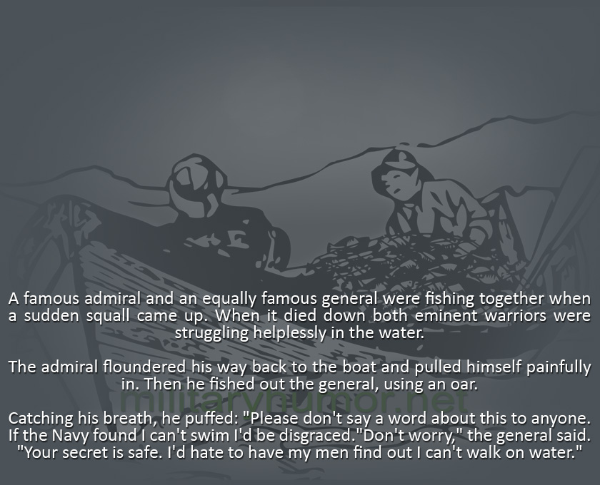 An Admiral And A General Were Fishing On The Lake - Military humor