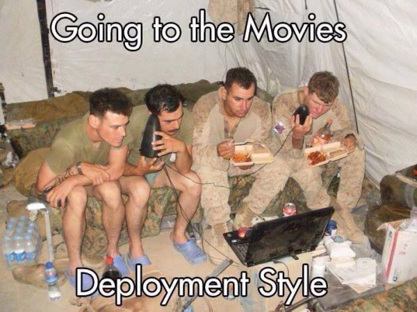 Going To The Movies Deployment Style - Military humor