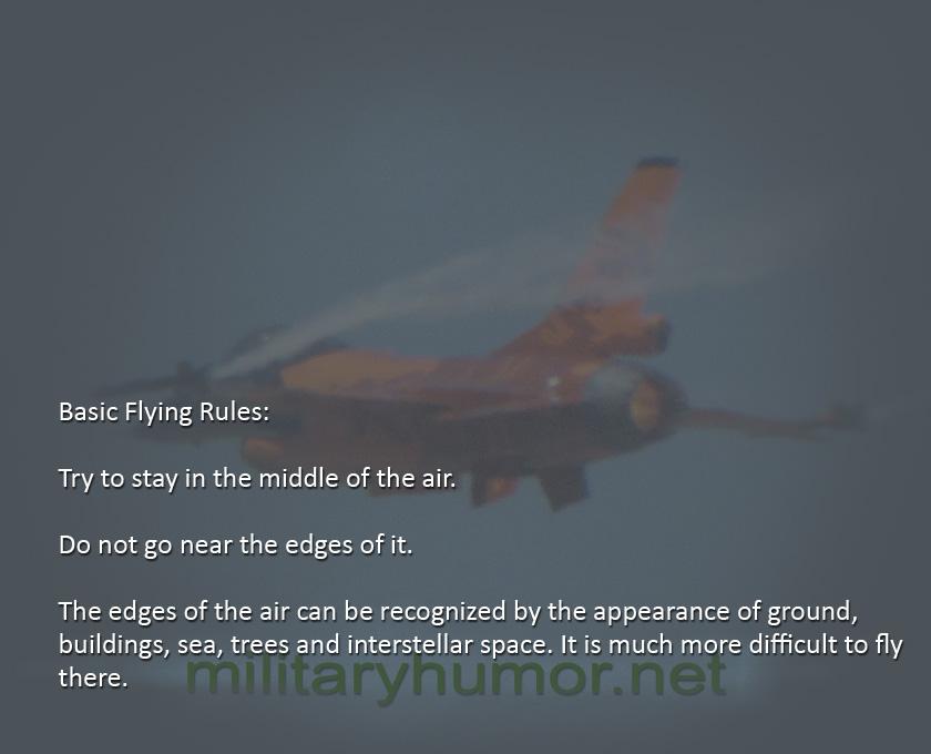 Basic Flying Rules - Military humor