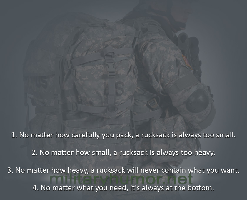 Rules of the Rucksack - Military humor