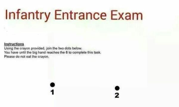 Infantry Entrance Exam - Military humor