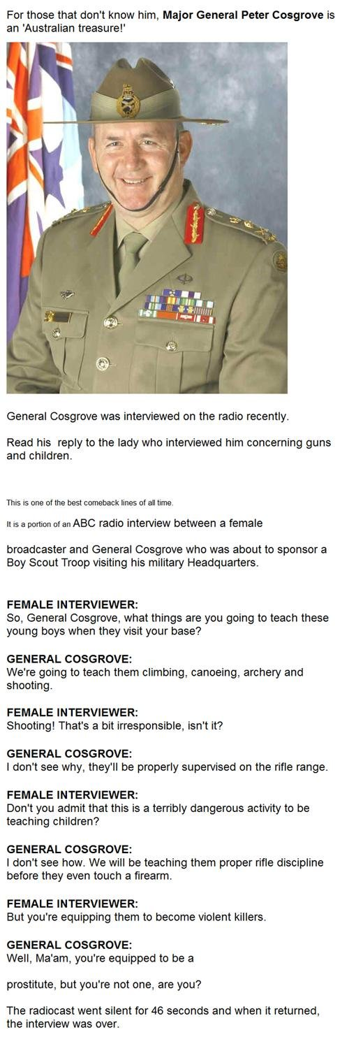 An Interview With General Cosgrove - Military humor