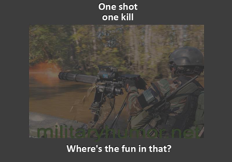 Funny military pictures fun mini gun rotary gun shot