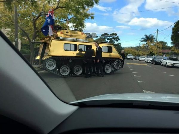 Nothing to see here, Just a golden Australian wedding tank - Military humor