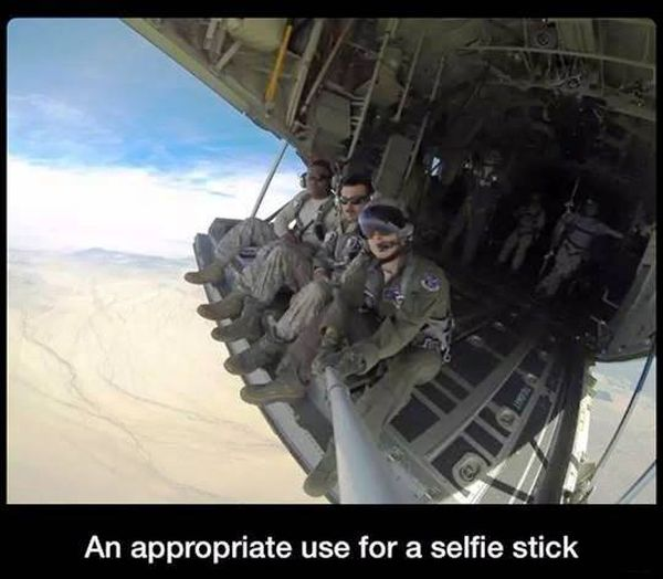 An Appropriate Use For A Selfie Stick - Military humor