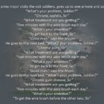 An Army Major Visits The Sick Soldiers…