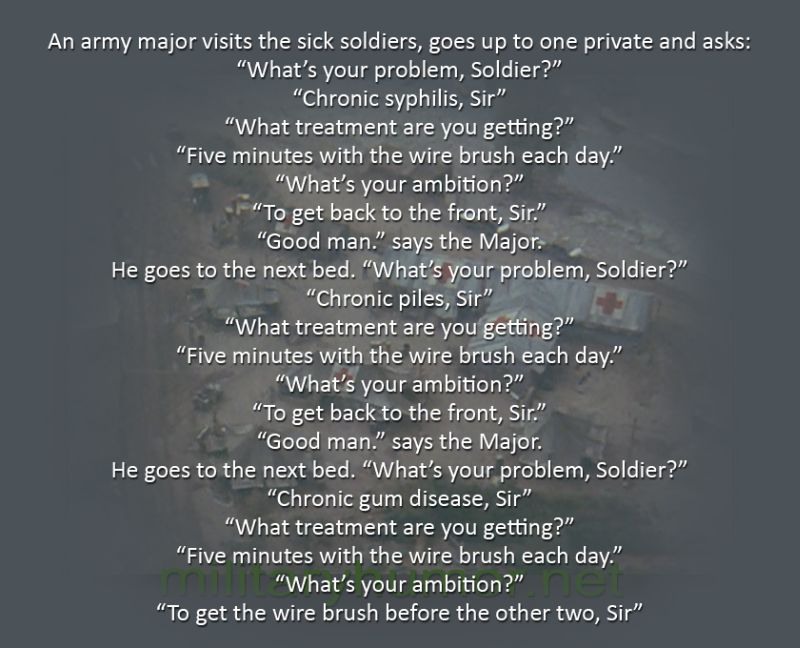 An Army Major Visits The Sick Soldiers... - Military humor